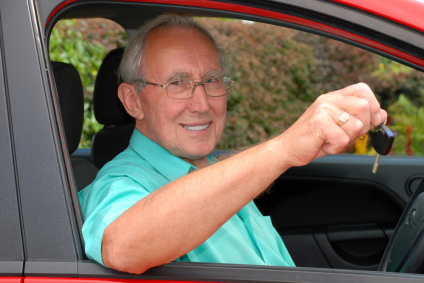A senior man happy with his vehicle service